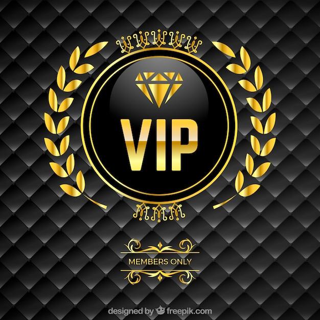 Vip gevoerde achtergrond met gouden logo Gratis Vector