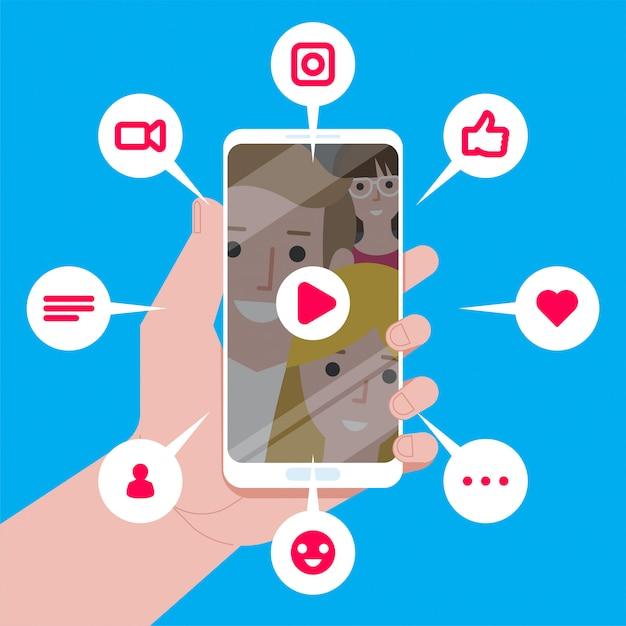 Virale inhoud. vind-ik-leuks, deelacties en opmerkingen verschijnen op het mobiele scherm Premium Vector