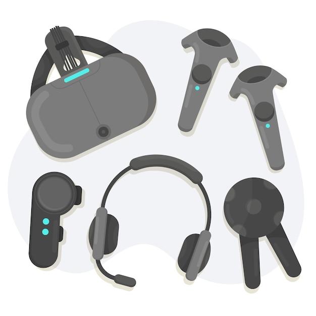 Virtual reality-apparatuur ingesteld Gratis Vector