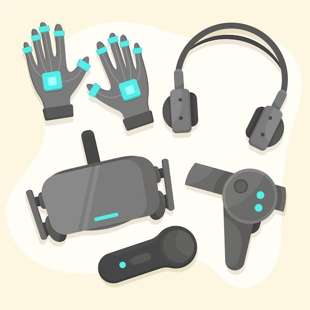 Virtual reality-apparatuurpakket Premium Vector