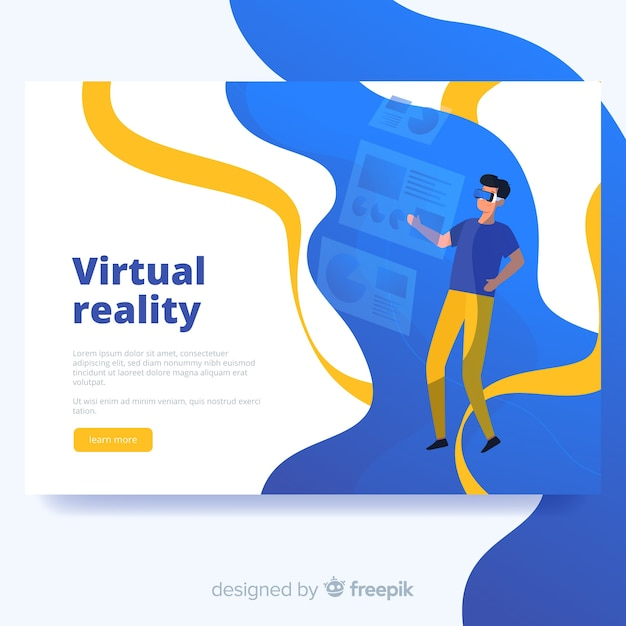 Virtual reality bestemmingspagina sjabloon Gratis Vector