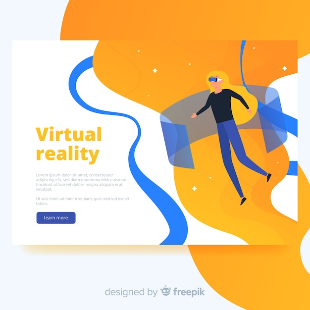 Virtual reality bestemmingspagina sjabloon Gratis Vector
