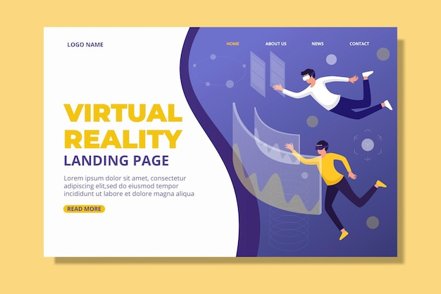 Virtual reality-concept - bestemmingspagina Gratis Vector