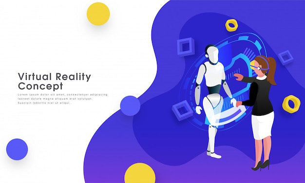 Virtual reality concept. Premium Vector
