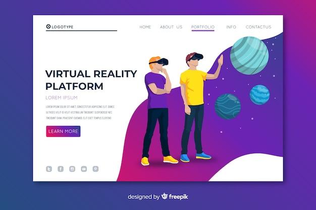 Virtual reality platform bestemmingspagina Gratis Vector