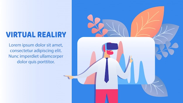 Virtual reality-technologie banner vector sjabloon Premium Vector