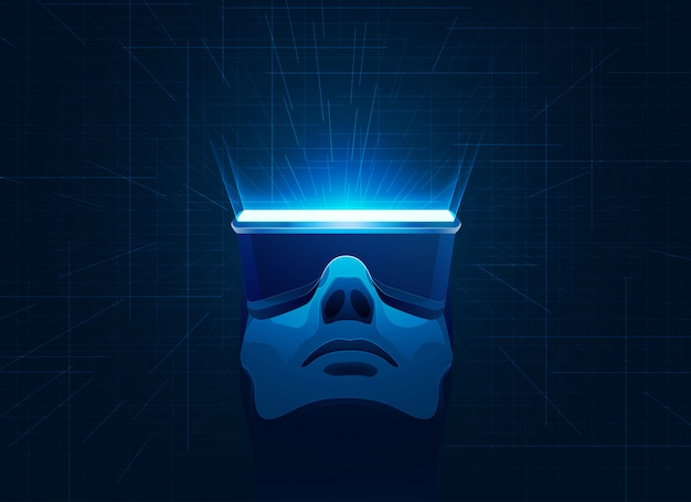 Virtual reality-technologie Premium Vector
