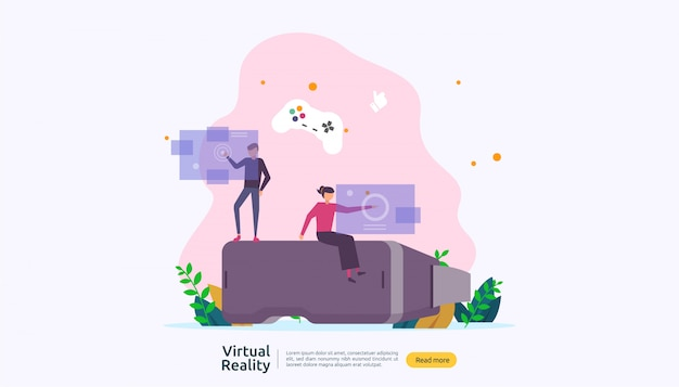 Virtueel augmented reality-achtergrondsjabloon Premium Vector