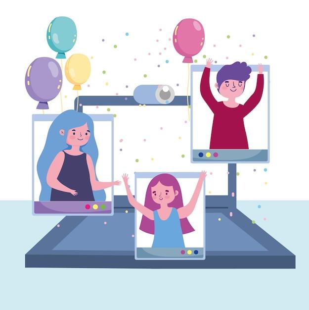Virtueel feest, mensen gelukkig feest feestelijk met laptop illustratie Premium Vector