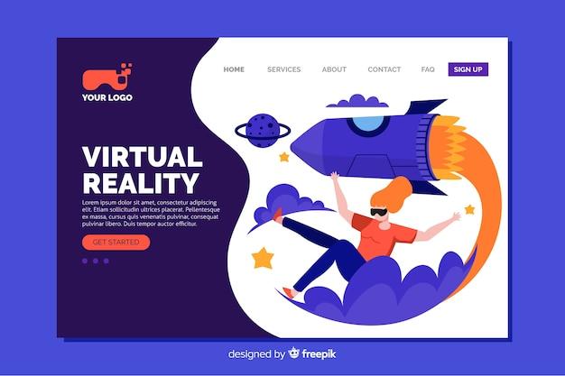 Virtueel realiteit bestemmingspagina plat ontwerp Gratis Vector