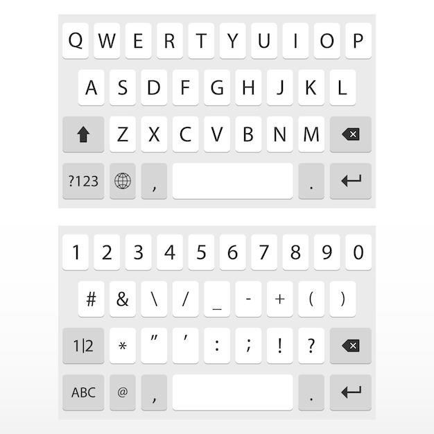 Virtueel toetsenbord voor mobiele telefoon Premium Vector