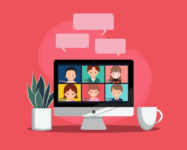 Virtueel vergaderingsconcept. nieuwe normale levensstijl teleconferentie met collega. werkruimte met plant en koffie. vlakke stijl vector design. Premium Vector