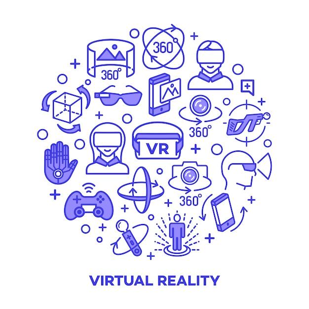Virtueel werkelijkheidsconcept met geïsoleerde kleurenelementen. Premium Vector