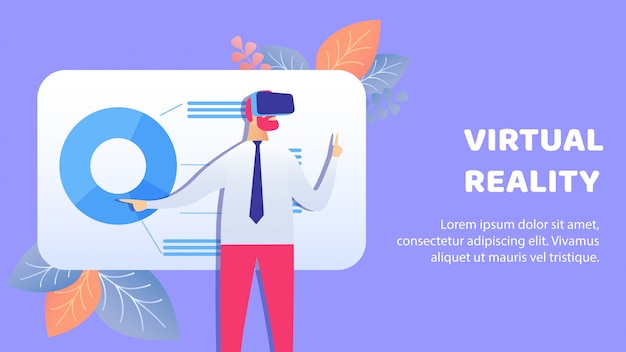 Virtuele, augmented reality banner vector-sjabloon Premium Vector