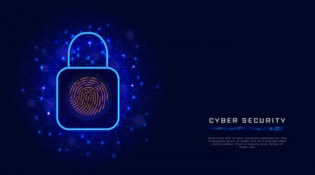 Virtuele, digitale gegevensbescherming door biometrische vingerafdrukscan. cyberveiligheidsconcept met slot Premium Vector