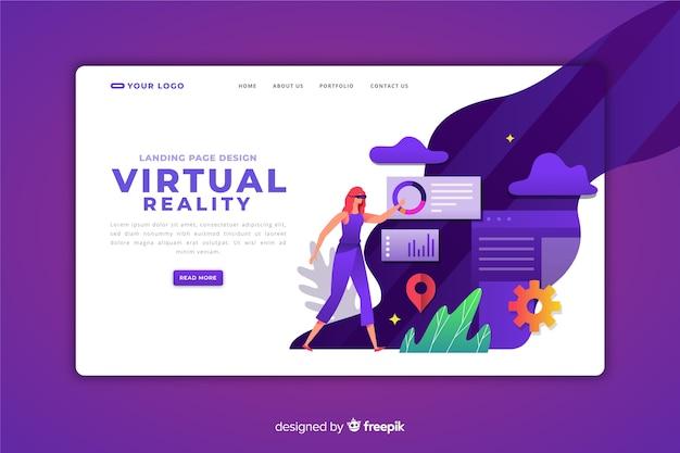 Virtuele realiteit bestemmingspagina sjabloon Gratis Vector