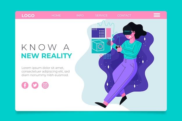 Virtuele realiteit concept bestemmingspagina met vrouw Gratis Vector