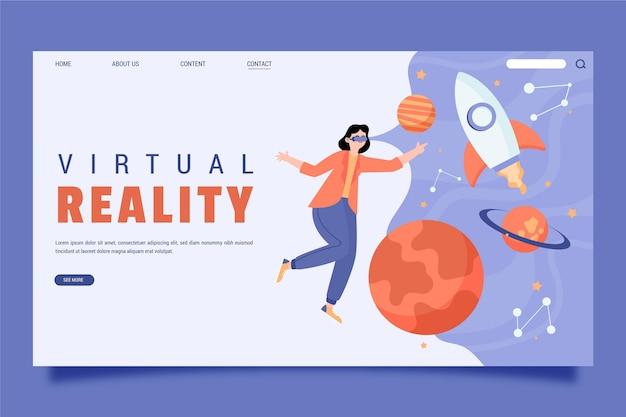 Virtuele realiteit concept bestemmingspagina sjabloon Premium Vector