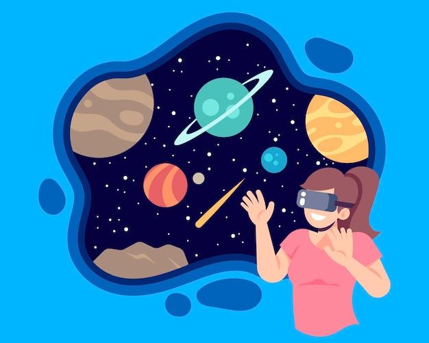Virtuele realiteit concept illustratie Gratis Vector