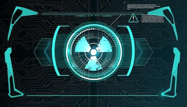 Virtuele realiteit. futuristisch vr-head-up display. sci-fi-helm hud, gui, ui. futuristisch display met gegevens, snelheidsmeter en statistiekenpaneel. Premium Vector