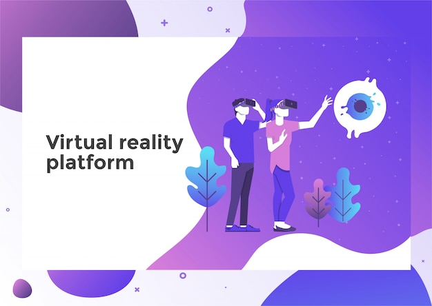 Virtuele realiteit illustratie pagina Premium Vector