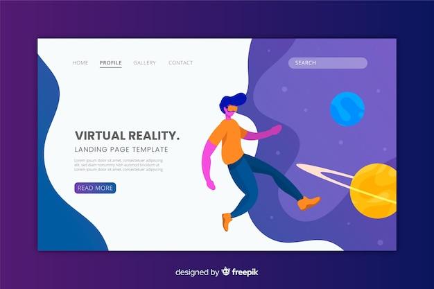 Virtuele realiteit landingspagina plat ontwerp Gratis Vector