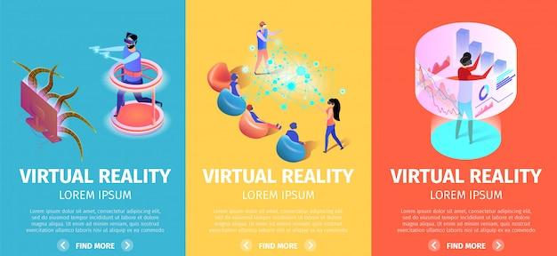 Virtuele realiteit set van verticale banners. vr-spellen Premium Vector