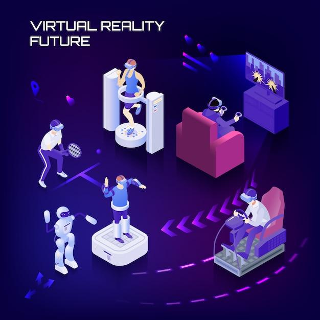 Virtuele realiteit toekomstige isometrische achtergrond Gratis Vector