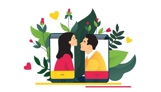 Virtuele relaties, online dating of sociaal netwerken concept. liefde via internet. Premium Vector