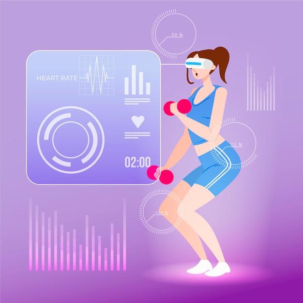 Virtuele sportschool illustratie concept Gratis Vector