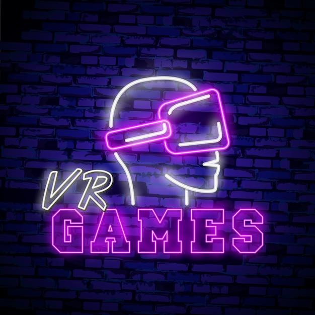 Virtuele werkelijkheid neonteken, helder uithangbord Premium Vector