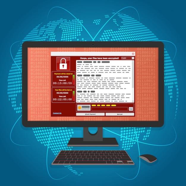 Virus malware ransomware wannacry versleutelde uw bestanden en vereist geld Premium Vector