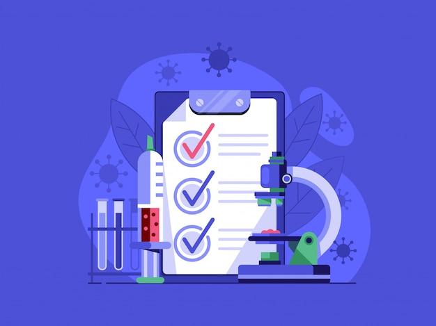Virus positieve test illustratie. bacteriologisch laboratoriumtestconcept met microscoop, injectie en preparaten. Premium Vector