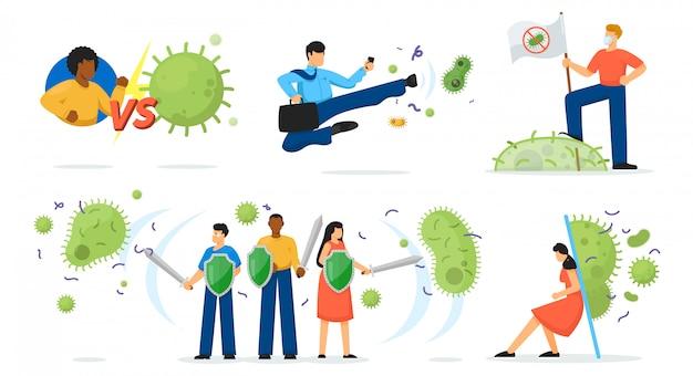 Virusbescherming ingesteld. geïsoleerde persoon stripfiguur met zwaard en schild bestrijding van coronavirus covid-19, kiem- en bacteriecollectie. vector geneeskunde en gezondheid bescherming concept illustratie Premium Vector