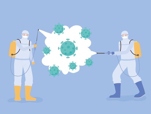 Virusdesinfectie, covid 19 coronavirus, medische wetenschappers in hazmat-pakken reinigen en desinfecteren coronaviruscellen Premium Vector