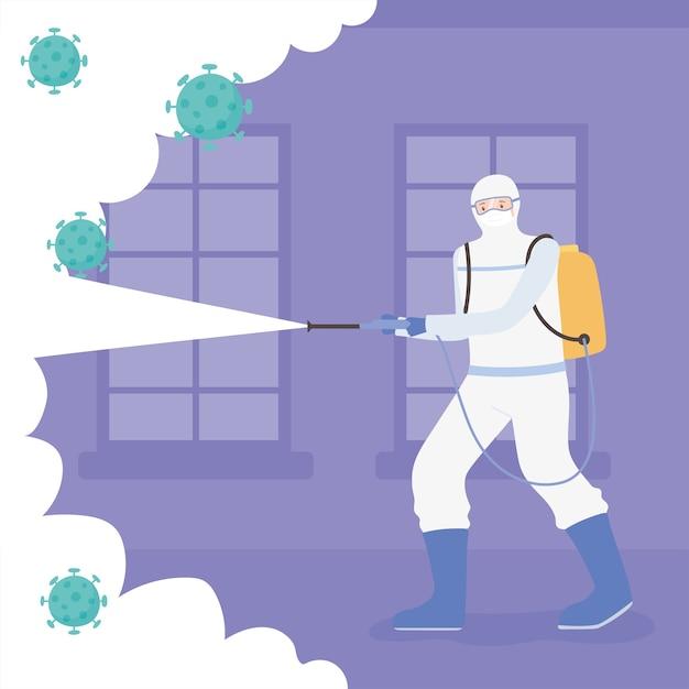 Virusdesinfectie, man in hamzat pak schoonmaken en desinfecteren, covid 19 coronavirus, preventieve maatregel Premium Vector