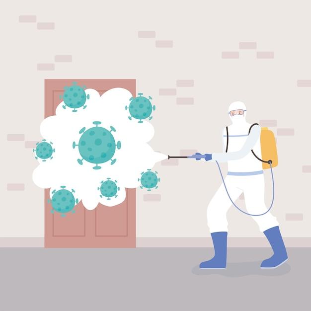 Virusdesinfectie, man in hazmatpak reiniging en desinfectie coronaviruscellen pandemie, preventieve maatregel Premium Vector