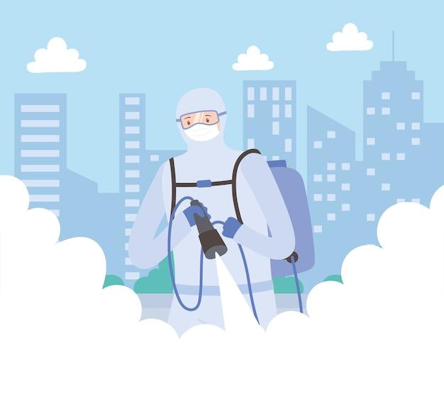 Virusdesinfectie, medische man in hazmat-pak reiniging en desinfectie, covid 19 coronavirus, preventieve maatregel Premium Vector