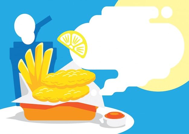 Vis en schip achtergrondontwerp met citroen Premium Vector