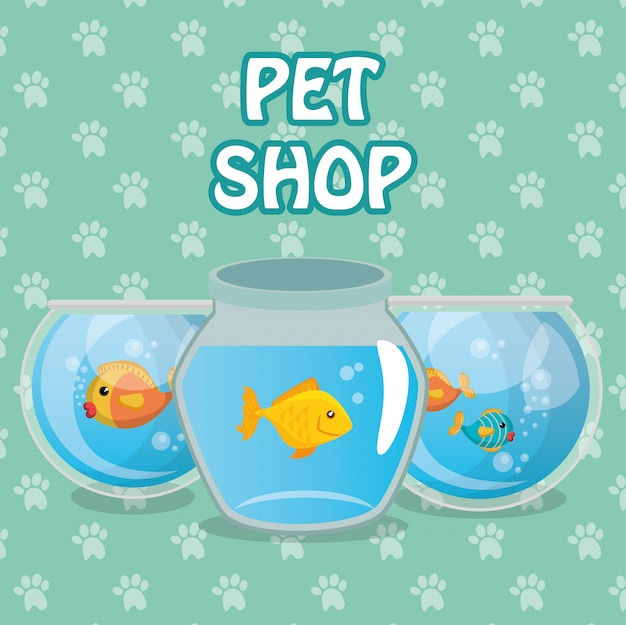 Vis huisdier in aquarium Gratis Vector