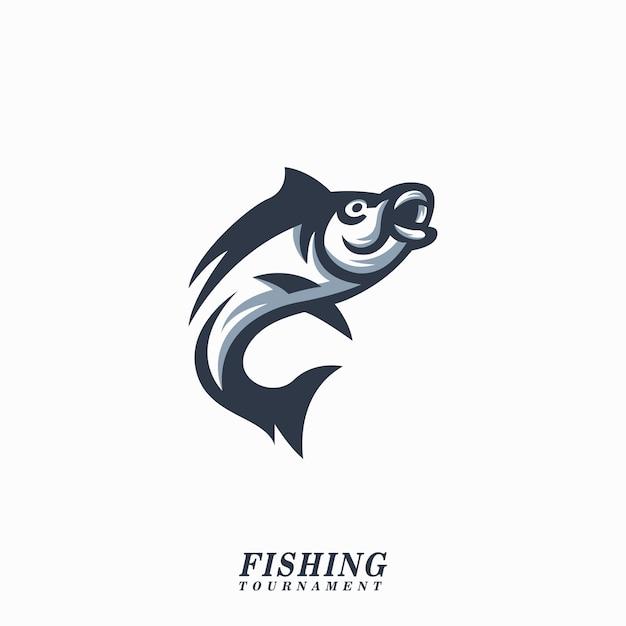 Vis logo illustratie vis toernooi Premium Vector