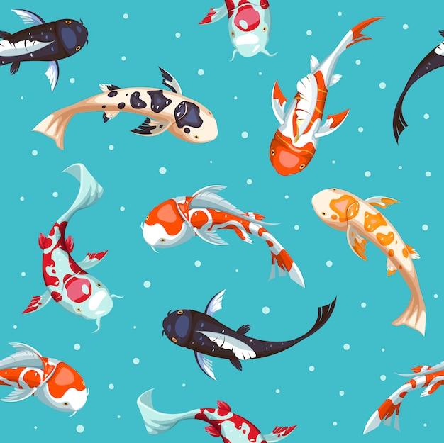 Vis naadloos patroon. gouden koi patroon behangontwerp. japanse vis illustratie. Premium Vector