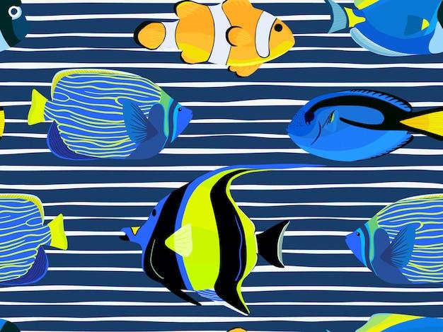 Vis onder water met strepenpatroon Premium Vector