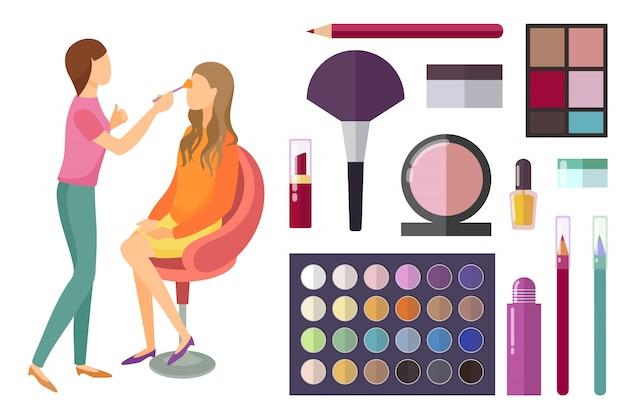 Visage en make-up maken van cosmetica voor schoonheid Premium Vector