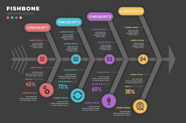 Visgraat infographic Gratis Vector