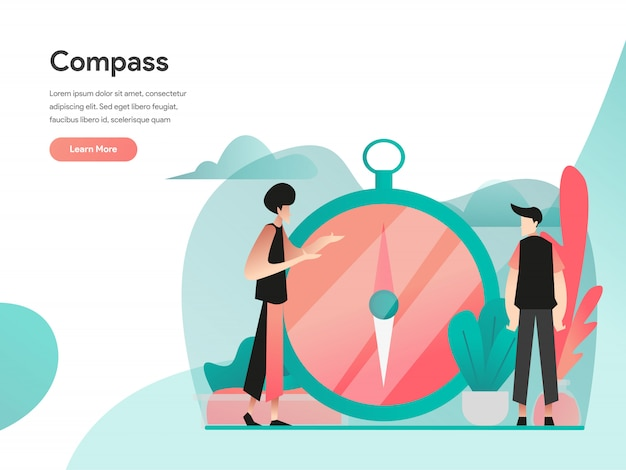 Visie en kompas illustratie concept Premium Vector