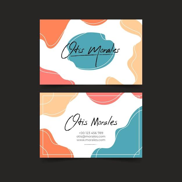 Visitekaartje met abstracte pastel gekleurde vlekken Gratis Vector