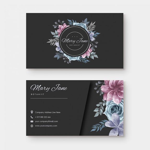 Visitekaartje met aquarel bloemenstijl Premium Vector