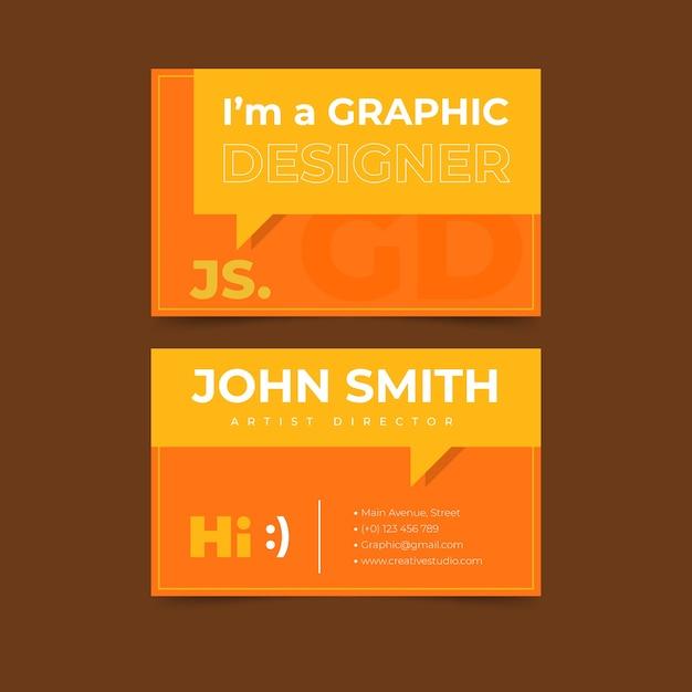 Visitekaartje met grappige grafische ontwerper tekstballon Gratis Vector