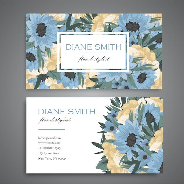 Visitekaartje met mooie blauwe en gele bloemen Gratis Vector